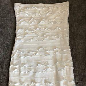 Express cream strapless dress